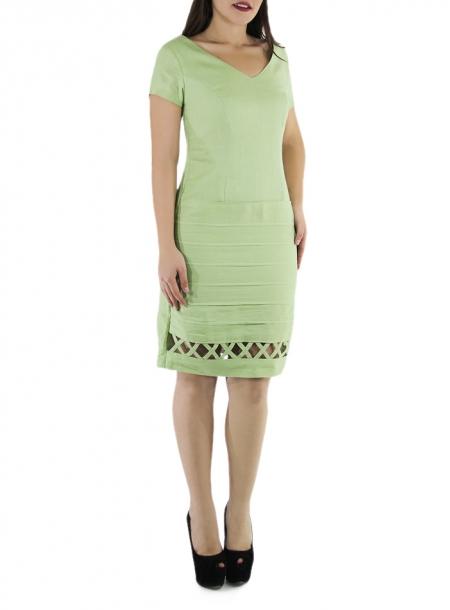 Vestido de Lino 100% Con Alforzas y Manga Corta Color Verde Mojito VESTIDOS