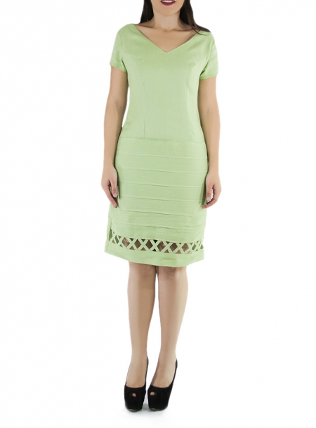 Princess Seamed Mojito Color Linen Dress DRESSES