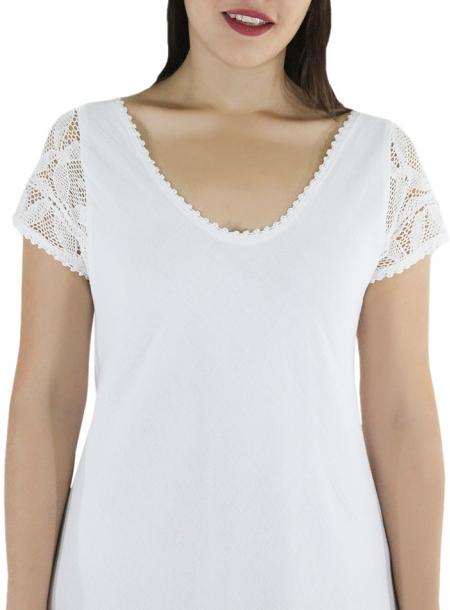 Vestido de Algodon Largo Con Crochet a Mano Color Blanco VESTIDOS