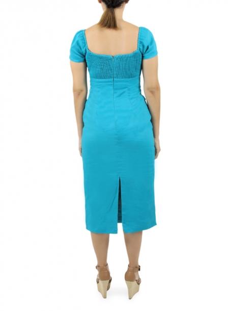 Vestido Largo Azul de Lino 100% VESTIDOS