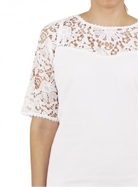 White Short Cotton Dress with Lace DRESSES