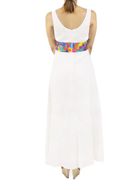 Vestido Largo Blanco con Bordado en la Cintura VESTIDOS