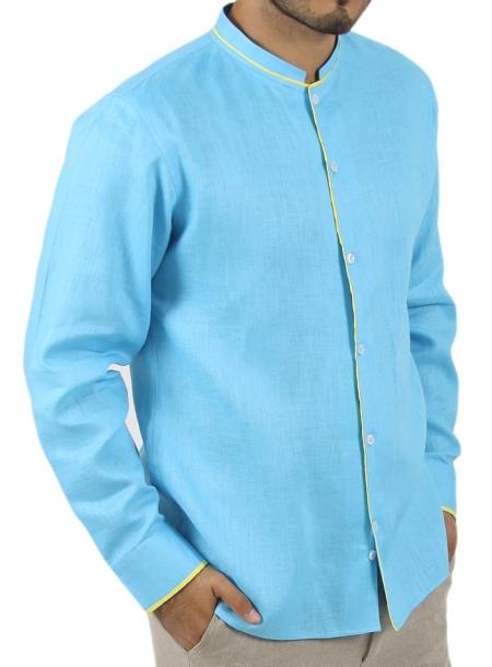 Camisa de Lino 100% Color Turquesa y Aplicación en Amarillo CAMISAS