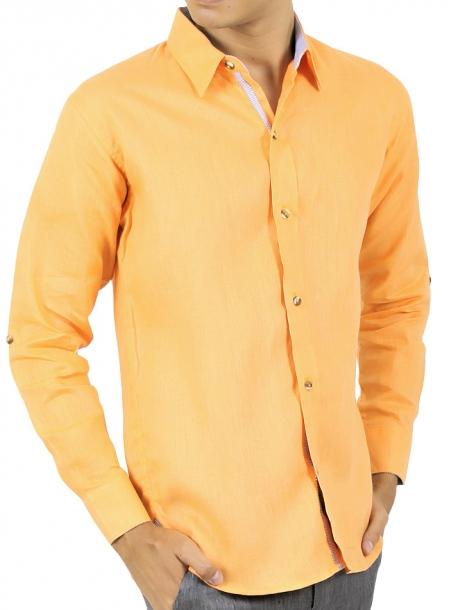 Camisa de Hombre color Naranja Lisa 100% Lino CAMISAS