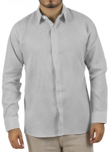 Camisa Lisa Gris 100% Lino CAMISAS