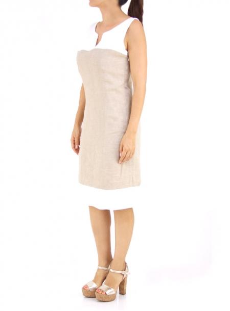 Vestido color Caqui con Blanco VESTIDOS