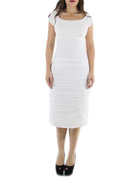 Vestido de Alta Costura Con Lino Color Blanco Corte Chanel VESTIDOS