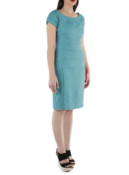 Vestido Corto de Lino 100% Color Esmeralda VESTIDOS
