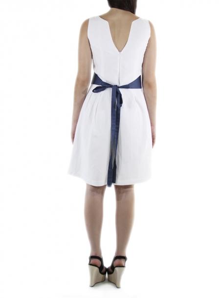 Vestido Corto Lino Con Cinturon Color Azul VESTIDOS