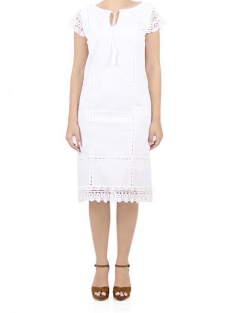 Vestido Blanco de Algodon con Encaje VESTIDOS