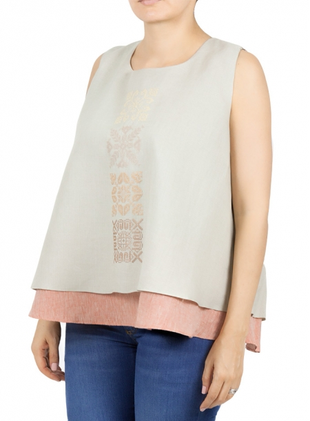 Beige Color Linen Embroidered Top TOPS
