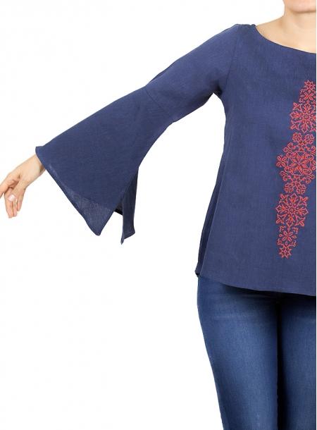 Blusa de Lino Bordado en Color Azul Marino BLUSAS