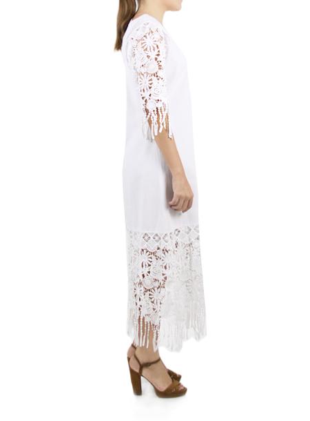 Vestido de Lino Color Blanco con Encaje MUJER