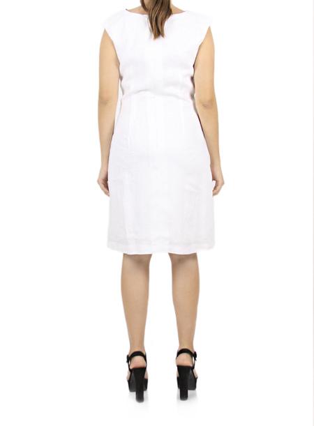 Vestido de Lino 100% Color Blanco Combinado Marinero VESTIDOS