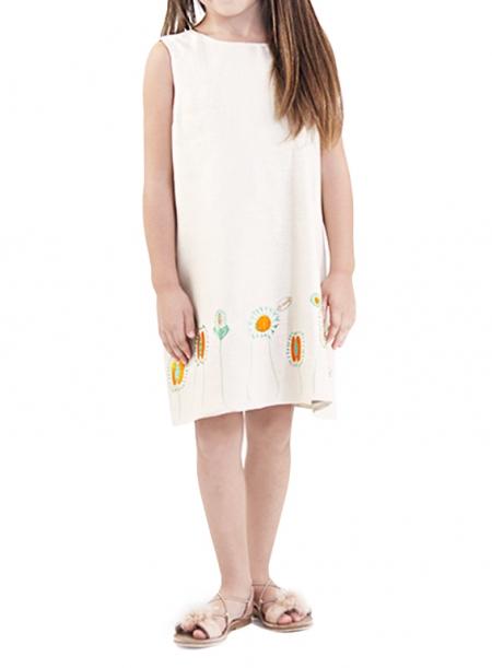 Vestido 100% de Lino color Beige con Bordados de Flores NIÑOS & NIÑAS