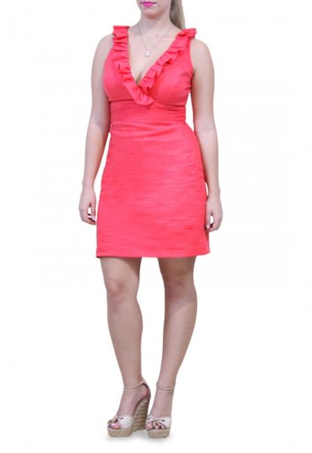 Vestido de Lino 100% Color Coral Sisado Con Olanes VESTIDOS