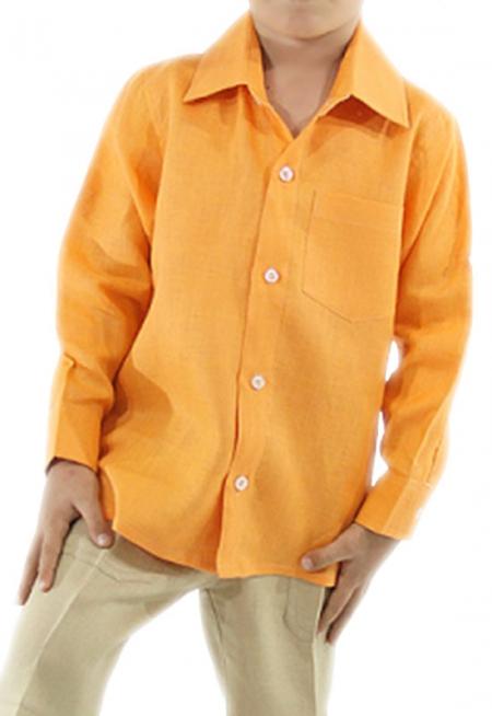Camisa de Lino 100% Para Niños Color Mamey CAMISAS