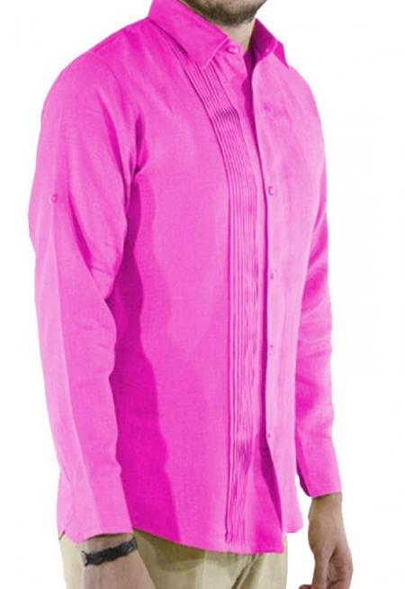 Camisa de Lino 100% Corte Slim Con Alforzas Color Rosa CAMISAS