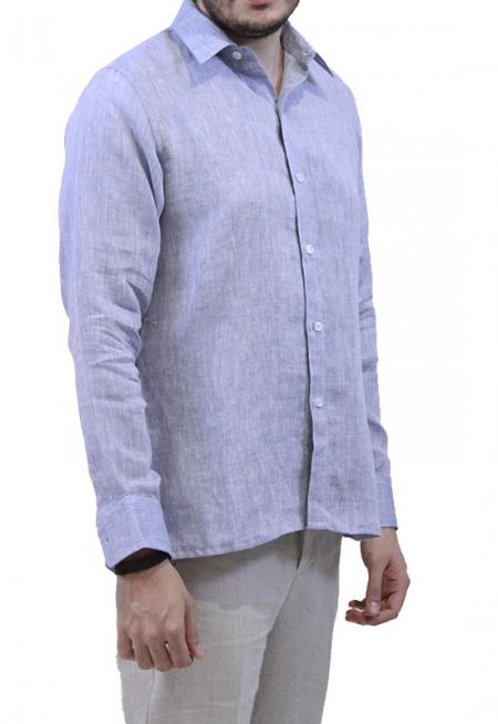 Camisa de Lino Azul Jaspeado Corte Slim CAMISAS