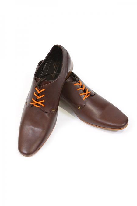 Zapato de Piel Para Hombre Color Cafe Moka + Dos Hilos Zapatos