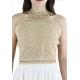 Hand Made Crochet-Paneled Ecru Cotton Midi Dress DRESSES