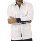 Classic Style 4 pocket White Linen Guayabera with Blue Details GUAYABERAS