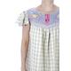Beige Blue Handmade Embroidered Pure Linen Dress WOMEN