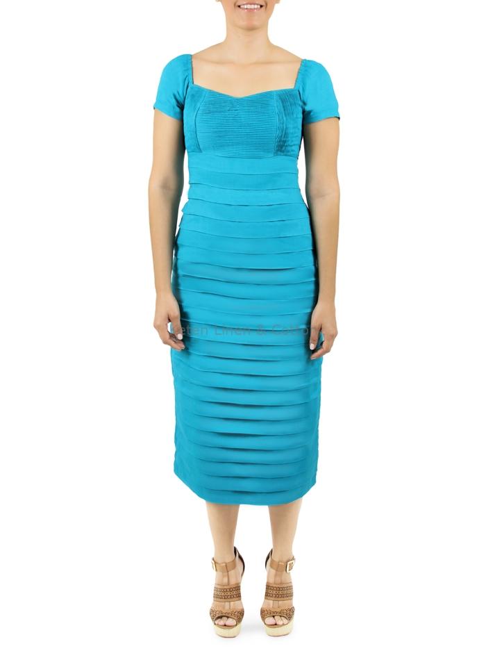 Vestido azul aqua largo