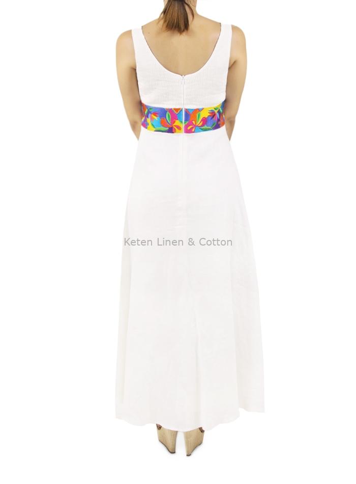 tecnicas modernas obtener nueva brillante n color Vestido Largo Blanco con Bordado en la Cintura