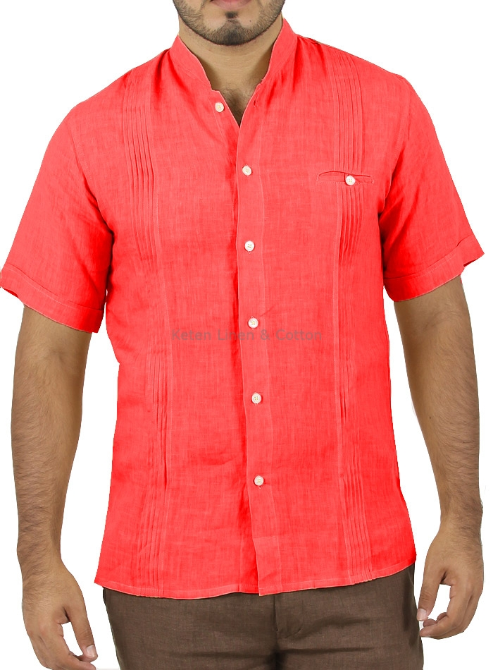 Coral linen short sleeve shirt keten guayaberas for Coral shirts for guys