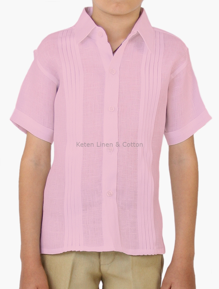 Camisa Manga Corta Para Niños Color Rosa