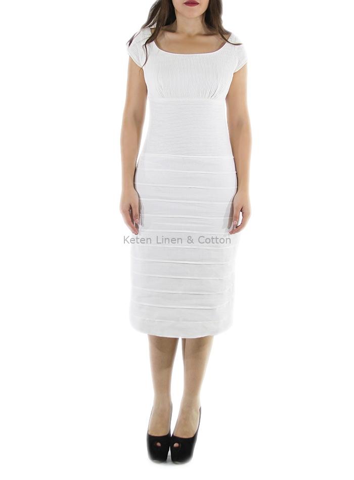 27ea0ad9d7 ... Vestido de Alta Costura Con Lino Color Blanco Corte Chanel VESTIDOS