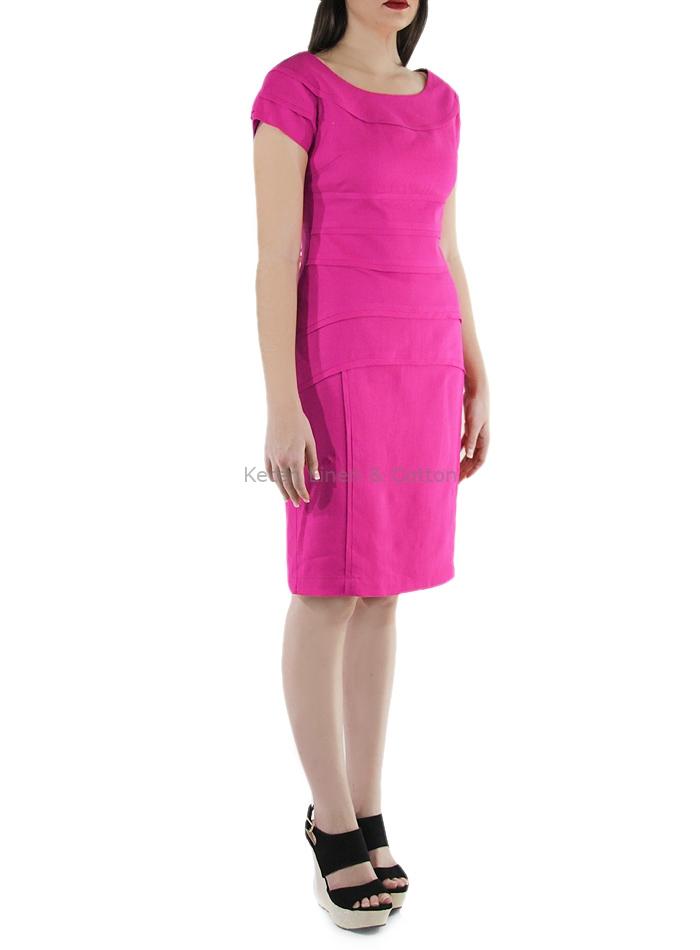 Vestido Corto de Lino Color Fucsia | Keten Guayaberas