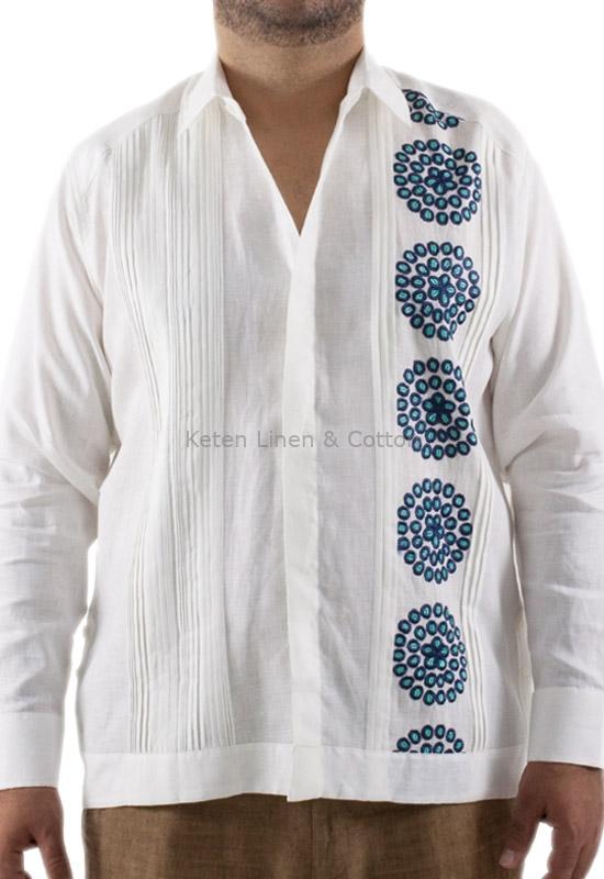4ff4225887 Guayabera White With Blue Granada Embroidery GUAYABERAS ...