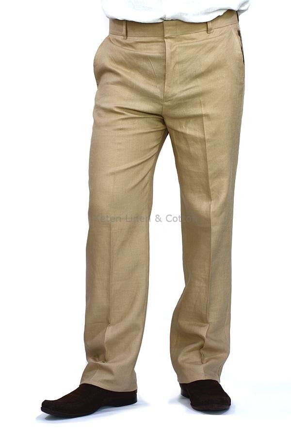 Pantalon De Lino Color Camello Caqui Keten