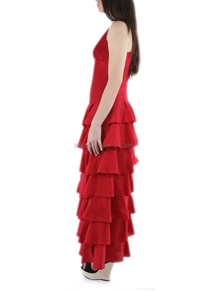 Vestido Con Olanes Color Rojo Lino 100