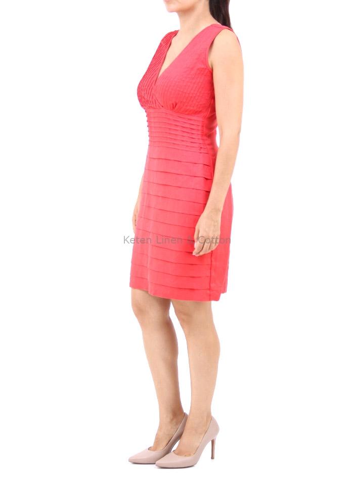 Vestido Color Coral De Lino 100